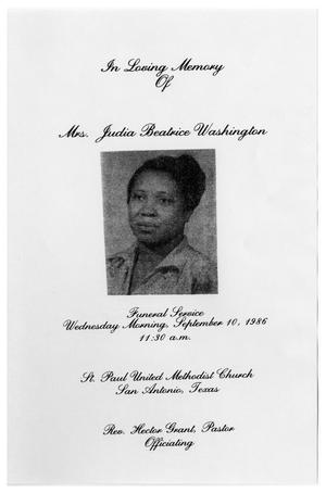Primary view of object titled '[Funeral Program for Judia Beatrice Washington, September 10, 1986]'.