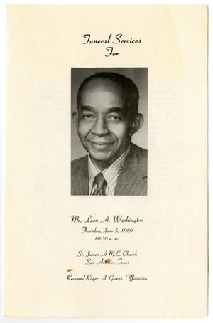 Primary view of object titled '[Funeral Program for Leon A. Washington, June 5, 1980]'.