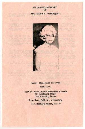 [Funeral Program for Mable R. Washington, December 15, 1989]