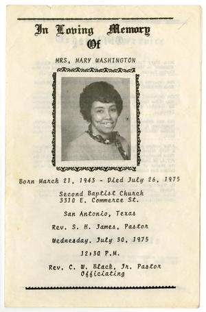 Primary view of object titled '[Funeral Program for Mary Washington, July 30, 1975]'.