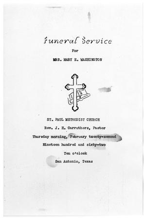 Primary view of object titled '[Funeral Program for Mary E. Washington, February 22, 1962]'.