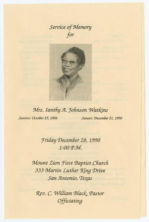 Primary view of object titled '[Funeral Program for Ianthy A. Johnson Watkins, December 28, 1990]'.