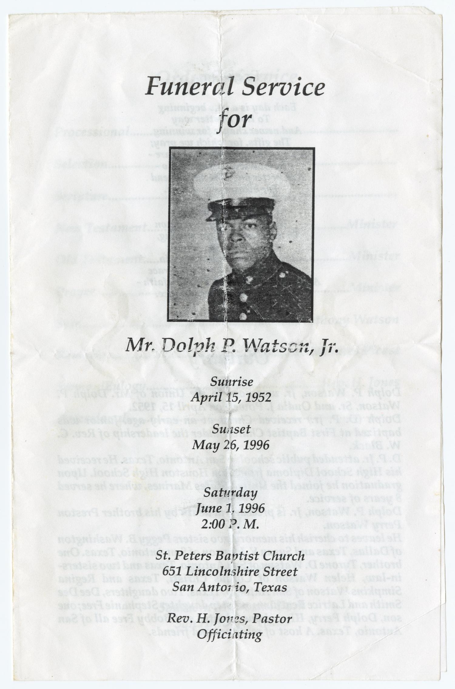 Funeral Program For Dolph P Watson Jr June 1 1996
