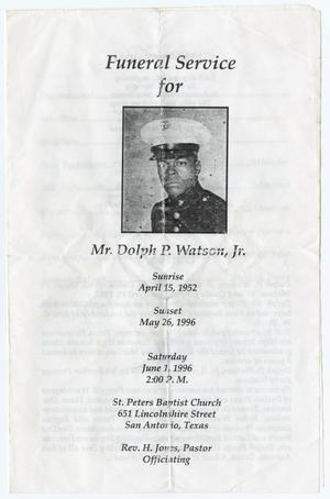 Primary view of object titled '[Funeral Program for Dolph P. Watson, Jr., June 1, 1996]'.