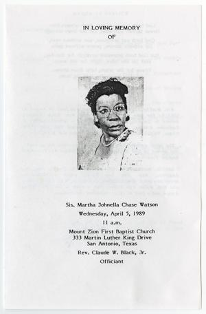 Primary view of object titled '[Funeral Program for Martha Johnella Chase Watson, April 5, 1989]'.