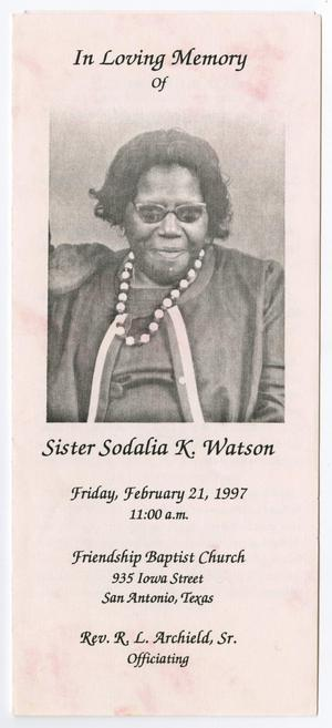 Primary view of object titled '[Funeral Program for Sodalia K. Watson, February 21, 1997]'.