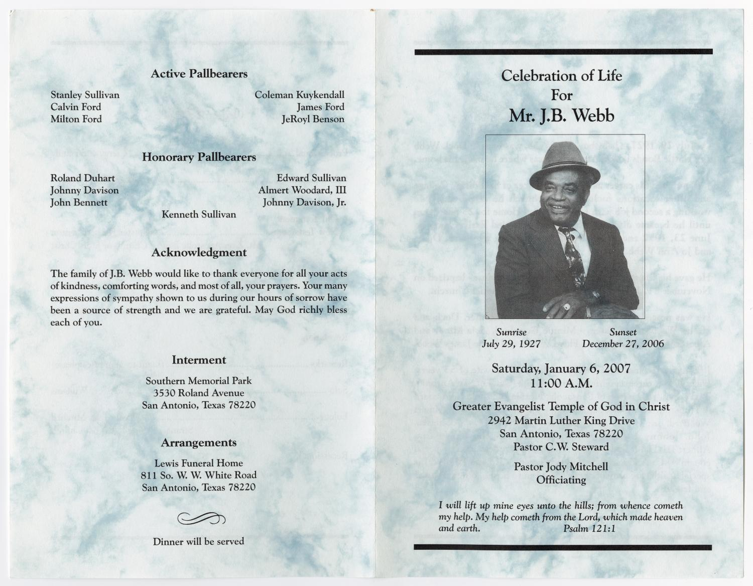 [Funeral Program for J. B. Webb, January 6, 2007]                                                                                                      [Sequence #]: 3 of 3