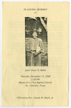 Primary view of object titled '[Funeral Program for Katie N. Webb, December 15, 1988]'.
