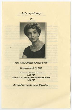 Primary view of object titled '[Funeral Program for Nona Blanche Davis Webb, March 13, 2001]'.
