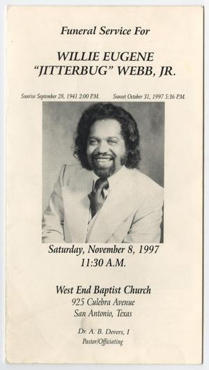 Funeral Program For Willie Eugene Webb Jr November 8