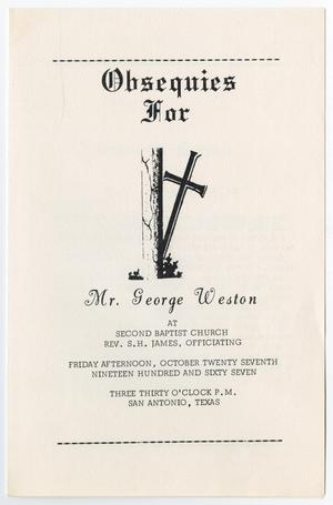 Primary view of object titled '[Funeral Program for George Weston, October 27, 1967]'.