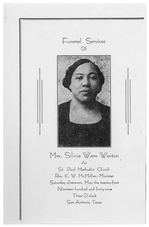 Primary view of object titled '[Funeral Program for Silicia Ware Weston, May 21, 1949]'.