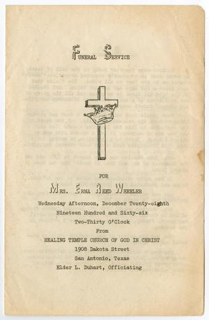 Primary view of object titled '[Funeral Program for Erma Reed Wheeler, December 28, 1966]'.