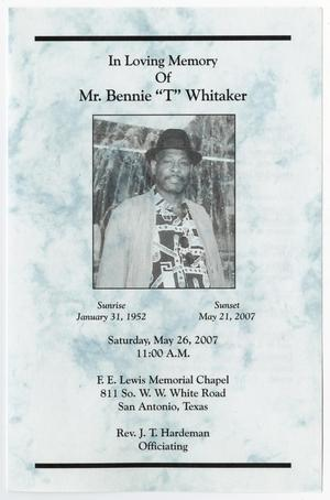 Primary view of object titled '[Funeral Program for Bennie Whitaker, May 26, 2007]'.