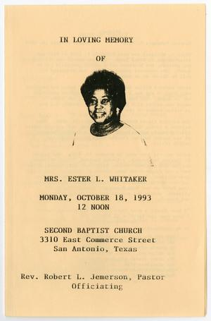 Primary view of object titled '[Funeral Program for Ester L. Whitaker, October 18, 1993]'.