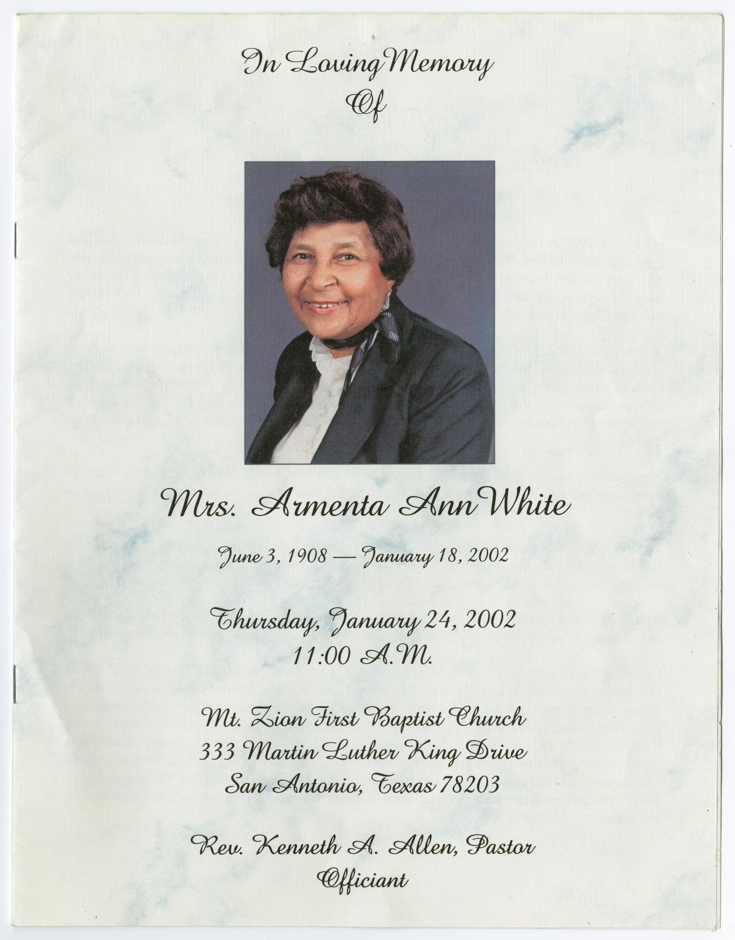 [Funeral Program for Armenta Ann White, January 24, 2002]                                                                                                      [Sequence #]: 1 of 8