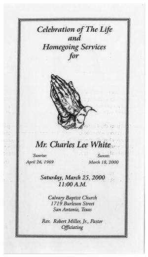 Primary view of object titled '[Funeral Program for Charles Lee White, March 25, 2000]'.