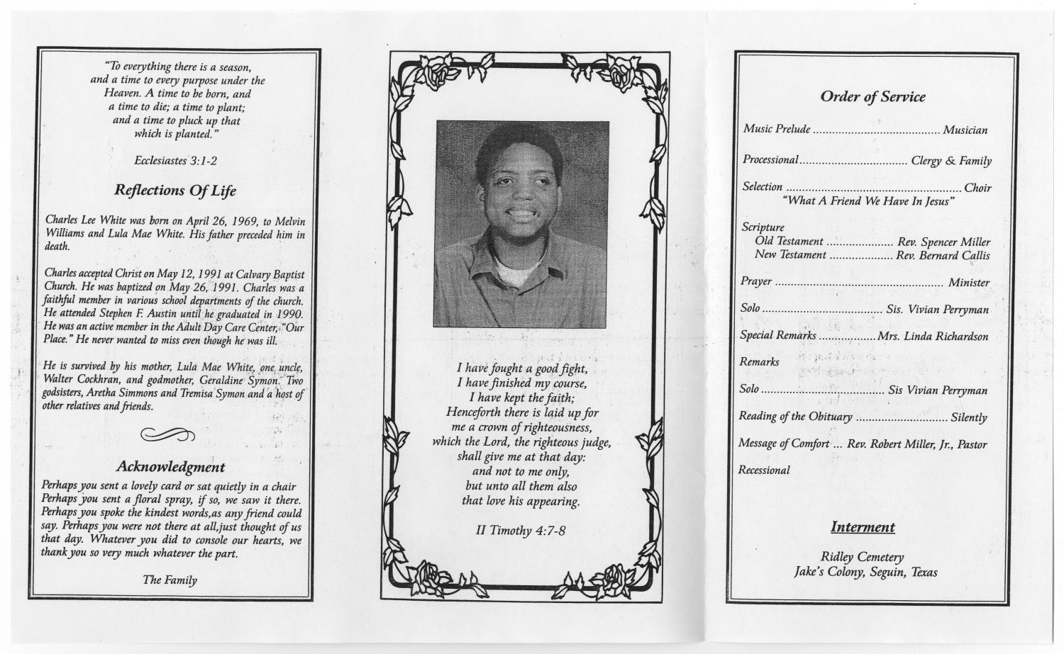 [Funeral Program for Charles Lee White, March 25, 2000]                                                                                                      [Sequence #]: 2 of 3