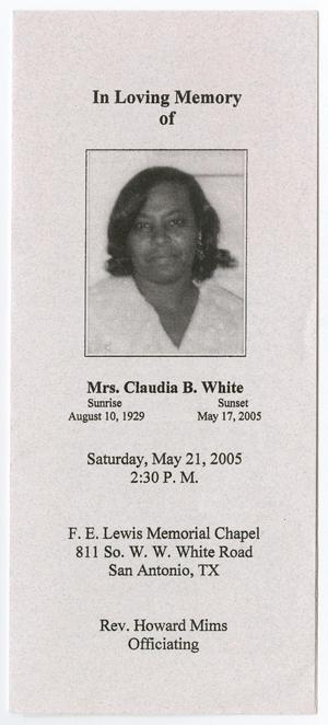 Primary view of object titled '[Funeral Program for Claudia B. White, May 21, 2005]'.
