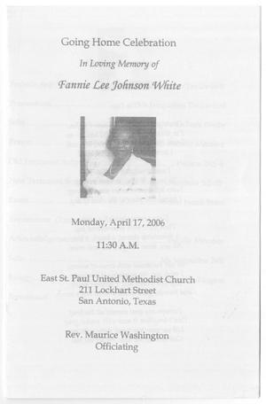 Primary view of object titled '[Funeral Program for Fannie Lee Johnson White, April 17, 2006]'.