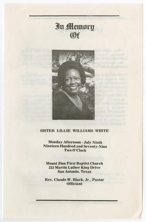 Primary view of object titled '[Funeral Program for Lillie Williams White, July 9, 1979]'.