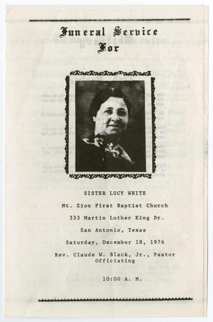 Primary view of object titled '[Funeral Program for Lucy White, December 18, 1976]'.