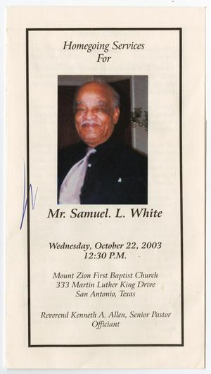 Primary view of object titled '[Funeral Program for Samuel L. White, October 22, 2003]'.