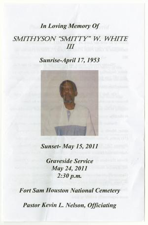 Primary view of object titled '[Funeral Program for Smithyson W. White, III, May 24, 2011]'.