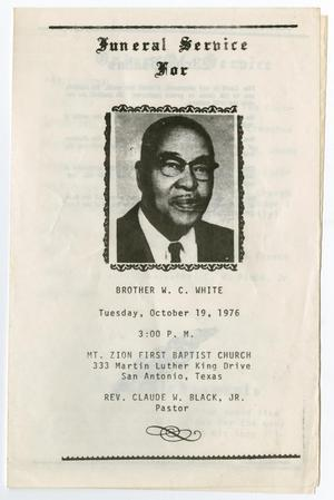 Primary view of object titled '[Funeral Program for W. C. White, October 19, 1976]'.