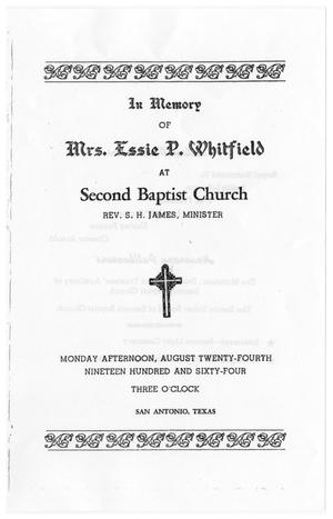 Primary view of object titled '[Funeral Program for Essie P. Whitfield, August 24, 1964]'.