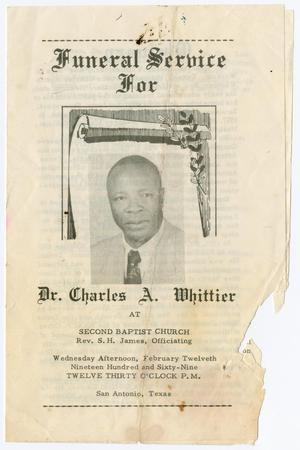 Primary view of object titled '[Funeral Program for Dr. Charles A. Whittier, February 12, 1969]'.