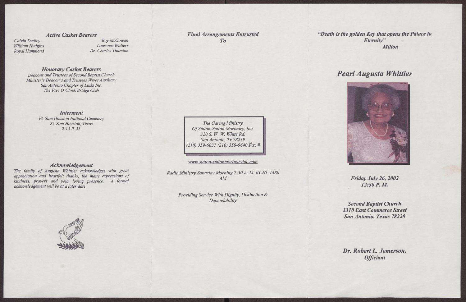 [Funeral Program for Pearl Augusta Whittier, July 26, 2002]                                                                                                      [Sequence #]: 3 of 3