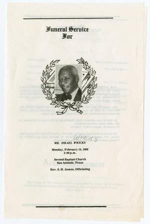 Primary view of object titled '[Funeral Program for Israel Wicks, February 18, 1980]'.