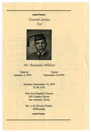 Primary view of object titled '[Funeral Program for Benjamin Wilborn, September 21, 1993]'.