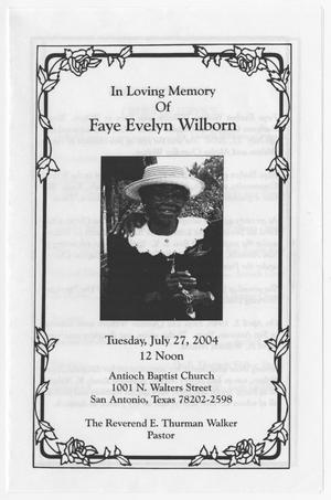 [Funeral Program for Faye Evelyn Wilborn, July 27, 2004]