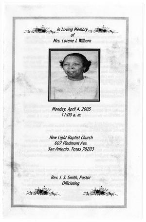 Primary view of object titled '[Funeral Program for Lorene J. Wilborn, April 4, 2005]'.