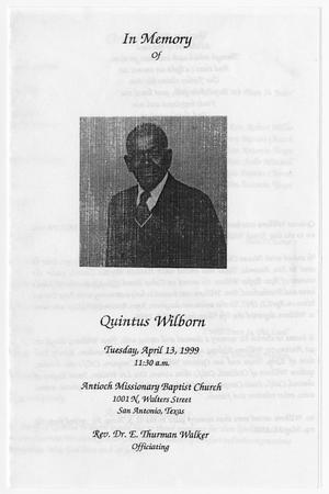 Primary view of object titled '[Funeral Program for Quintus Wilborn, April 13, 1999]'.