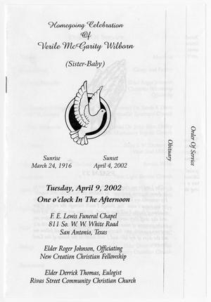 Primary view of object titled '[Funeral Program for Verile McGarity Wilborn, April 9, 2002]'.