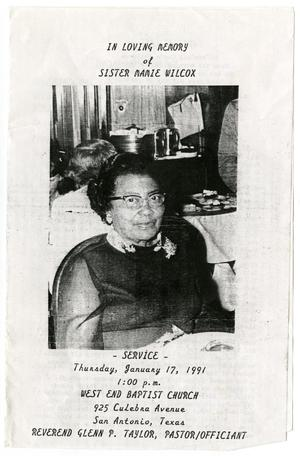 Primary view of object titled '[Funeral Program for Sister Mamie Wilcox, January 17, 1991]'.