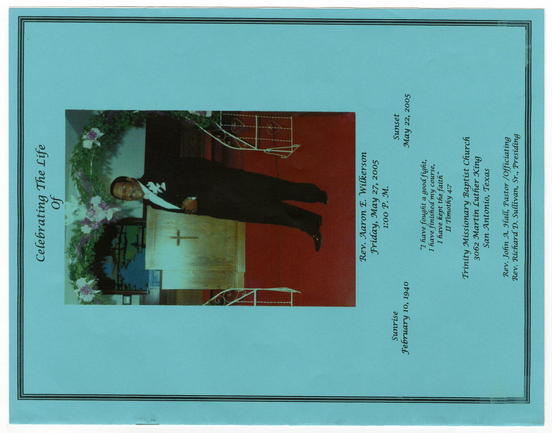 [Funeral Program for Aaron E. Wilkerson, May 27, 2005]                                                                                                      [Sequence #]: 1 of 8