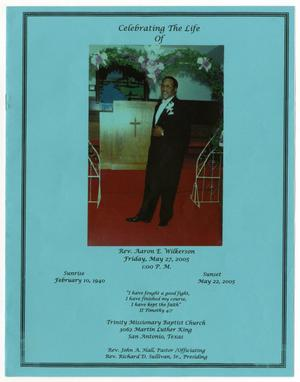 Primary view of object titled '[Funeral Program for Aaron E. Wilkerson, May 27, 2005]'.