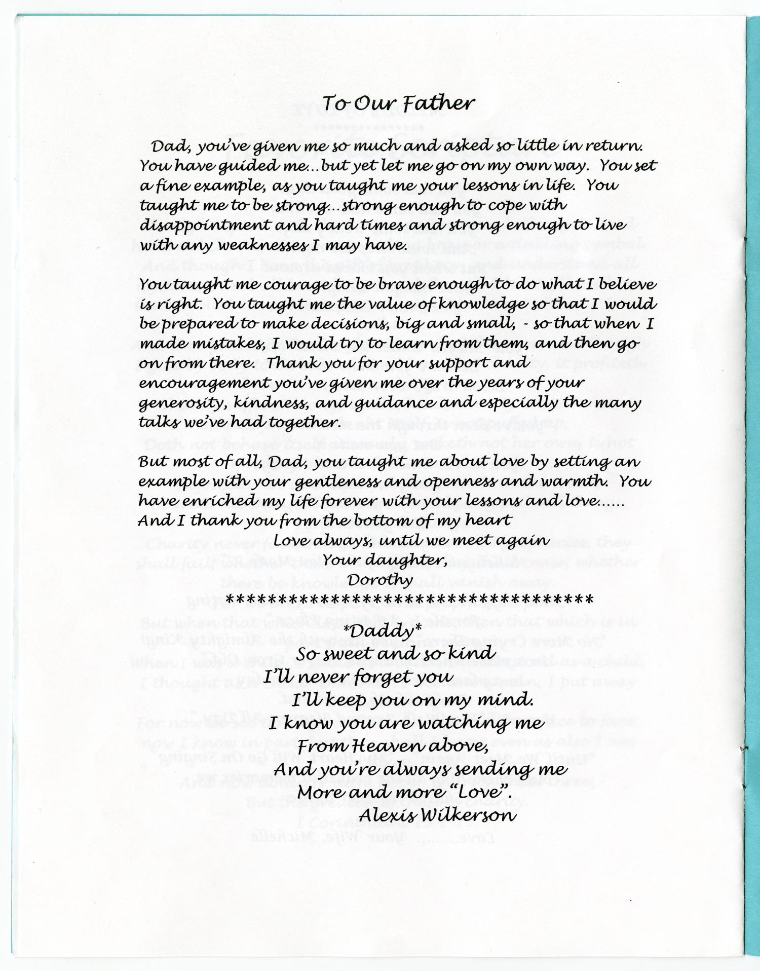[Funeral Program for Aaron E. Wilkerson, May 27, 2005]                                                                                                      [Sequence #]: 6 of 8