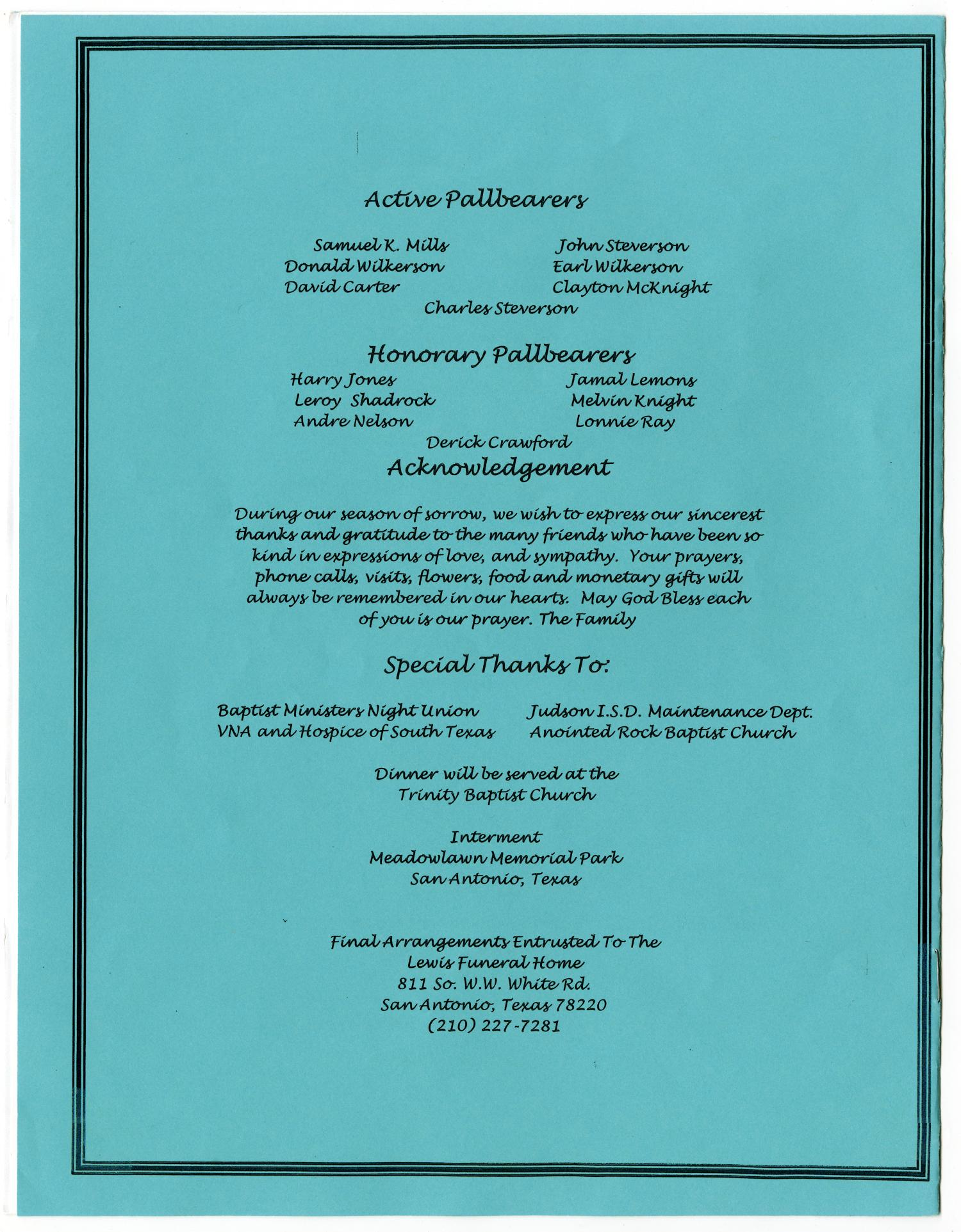 [Funeral Program for Aaron E. Wilkerson, May 27, 2005]                                                                                                      [Sequence #]: 8 of 8