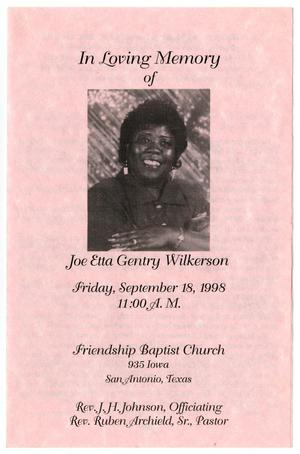 Primary view of object titled '[Funeral Program for Joe Etta Gentry Wilkerson, September 18, 1998]'.