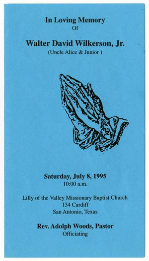Primary view of object titled '[Funeral Program for Walter David Wilkerson, Jr., July 8, 1995]'.