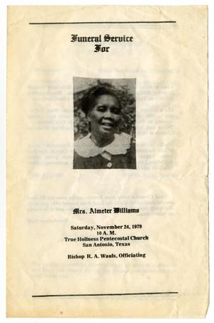 [Funeral Program for Almeter Williams, November 24, 1979]