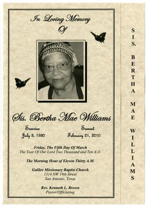 Primary view of object titled '[Funeral Program for Bertha Mae Williams, March 5, 2010]'.