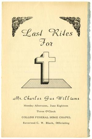 Primary view of object titled '[Funeral Program for Charles Gus Williams, June 18, 1962]'.