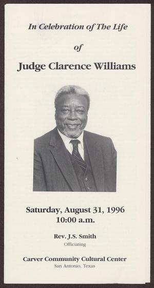 Primary view of object titled '[Funeral Program for Judge Clarence Williams, August 31, 1996]'.