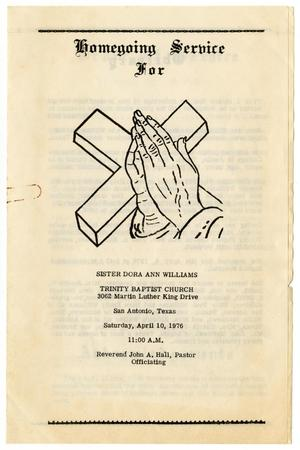 Primary view of object titled '[Funeral Program for Dora Ann Williams, April 10, 1976]'.